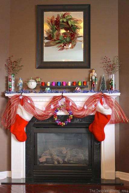 bright festive mantel