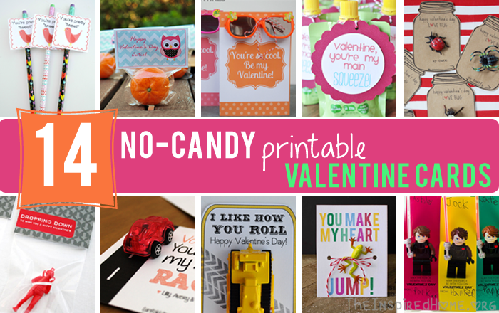 14 NoCandy Free Printable Valentines Cards The Inspired Home – Candy Valentine Card