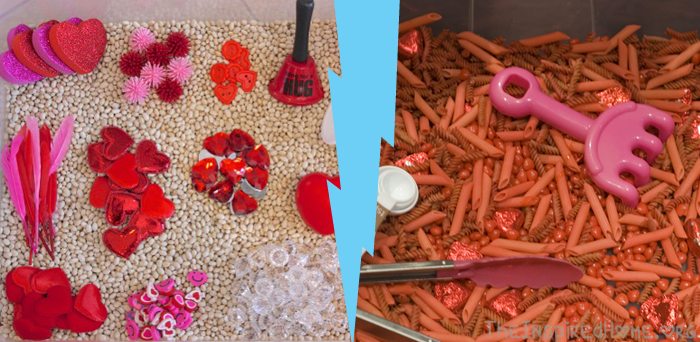 Valentines Day Sensory Bin 2 Ways