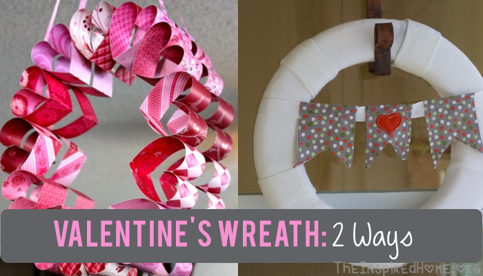 TheInspiredHome.org // These Valentines Day Wreath gives you two options - a quick and simple craft & intermediate craft to try for stunning heart filled decor.