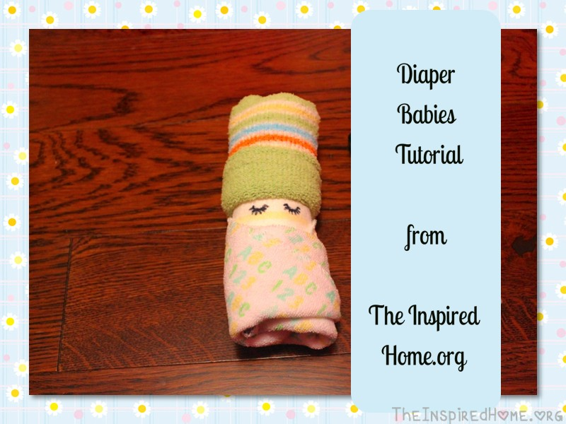 Tutorial on how to make Diaper Babies from TheInspiredHome.org A great addition to any baby shower gift or diaper cake.