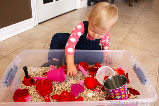 Valentine's Day Sensory Bin Ideas from TheInspiredHome.org