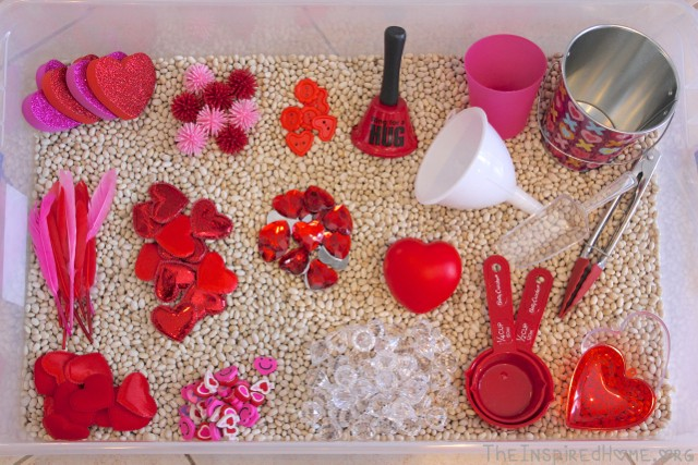 Valentine's Day Sensory Bin by TheInspiredHome.org