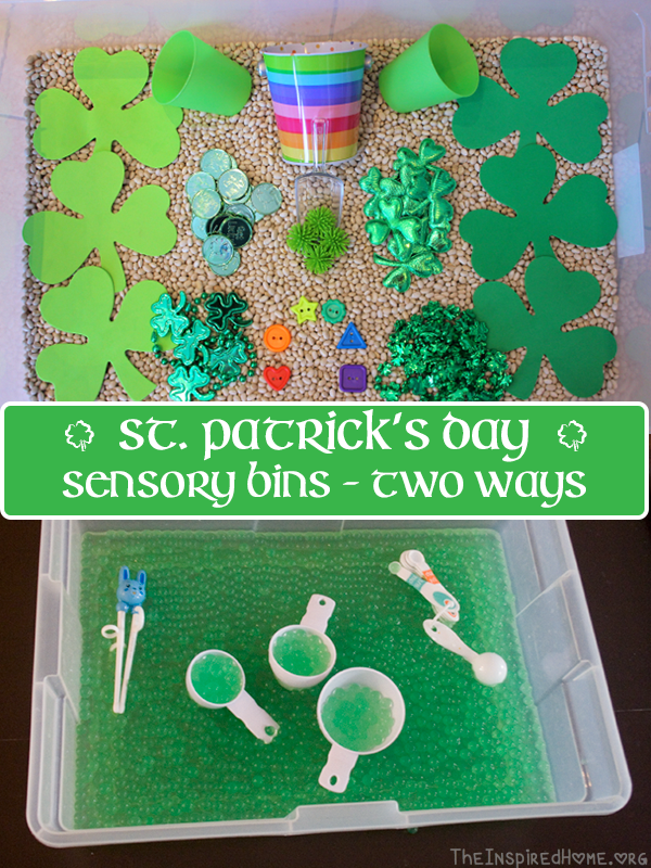 TheInspiredHome.org // St. Patrick's Day Sensory Bin: 2 Ways. One bin is full of dry shamrock items while the other is full of green water beads!