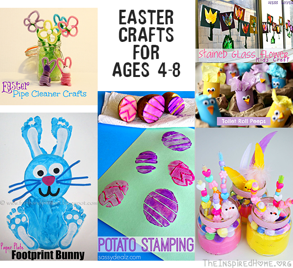 TheInspiredHome.org // Easter Crafts for Ages 4-8 including pipe cleaner flowers, potato stamping and stained glass art.