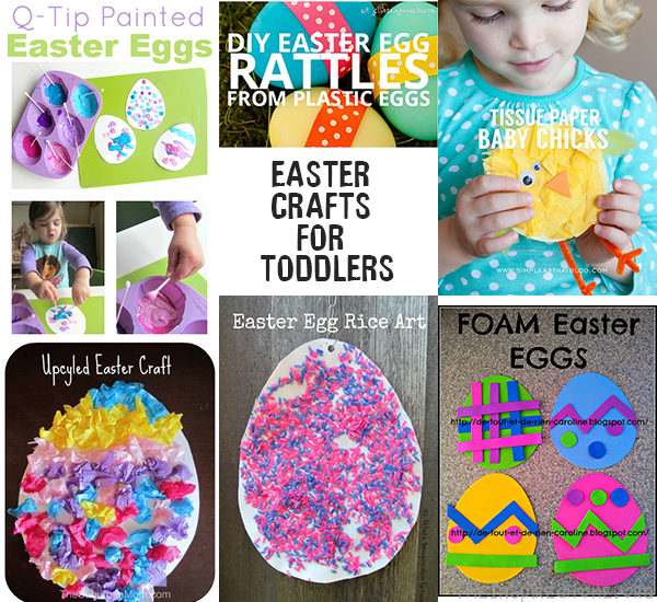 TheInspiredHome.org // Easter Crafts for Toddlers including tissue paper crafts, painted eggs, rattles and more.