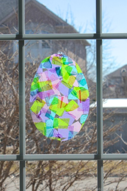 TheInspiredHome.org // Stained Glass Easter Eggs - made from contact paper and tissue paper. This is a fantastic no-mess Easter craft for toddlers.