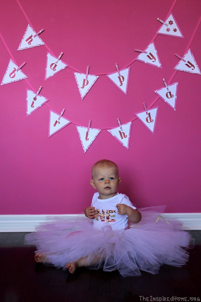 Happy Birthday Banner (click picture for tutorial). Tutu & onesie courtesy of Holly!