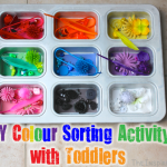 TheInspiredHome.org // DIY Color Sorting Activity with Toddlers. Help your toddlers hone skills with colors, letters, sorting, counting and more with this simple DIY activity.