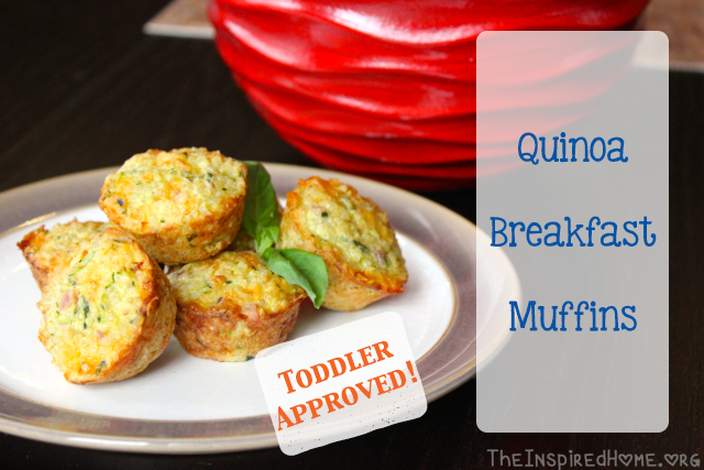 TheInspiredHome.org // Mini Ham & Cheese Quinoa Breakfast Muffins - fantastic toddler food!