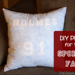 TheInspiredHome.org // DIY Pillow for the Sports Fan in your life. A great gift for any man, woman, teen or tween, this pillow is easily adapted for those who like to sew and those who don't! A great Christmas or birthday gift for the hard-to-buy for sports fan.