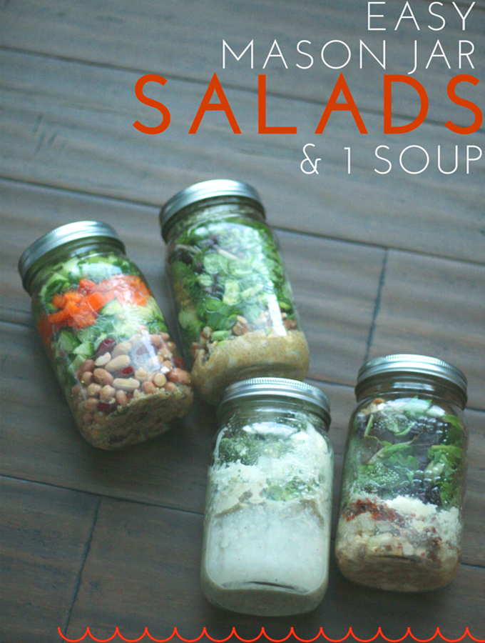 TheInspiredHome.org // Looking for a simple idea for lunch you can make in advance? Check out these 3 easy mason jar salads and 1 soup for grab 'em go healthy lunches.