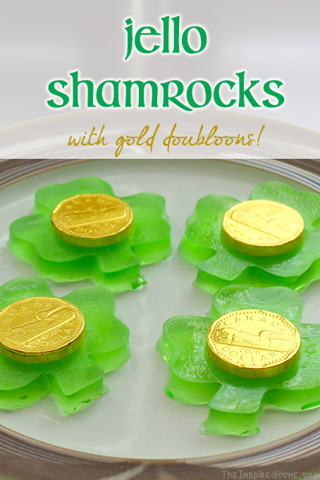 TheInspiredHome.org // St. Patricks Day Desserts Jello Shamrocks with gold doubloons - perfect for a St. Patrick's Day toddler or big kid snack!