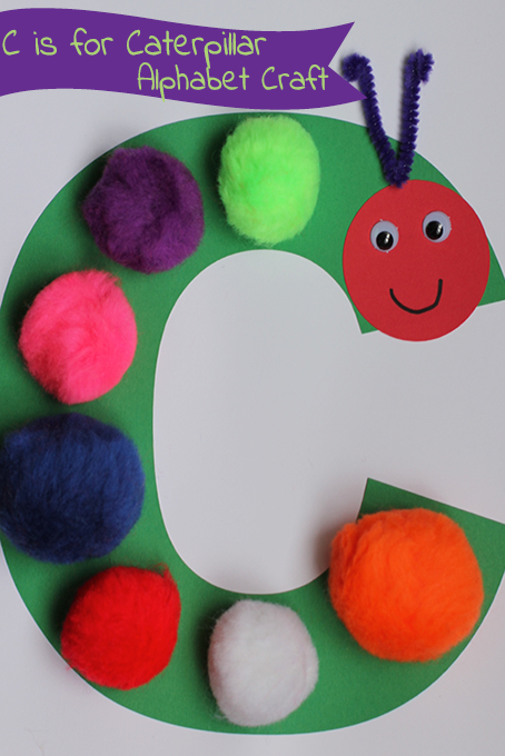 TheInspiredHome.org // C is for Caterpillar Alphabet Craft. The perfect craft to do with toddlers when reading the book The Very Hungry Caterpillar!