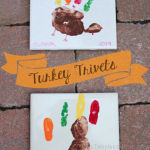 TheInspiredHome.org // Thanksgiving Turkey Trivets. These adorable handprint/footprint trivets are a fun and simple way to decorate your table this Thanksgiving. A great baby & toddler craft.