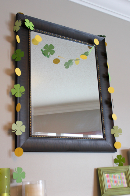TheInspiredHome.org // St. Patrick's Day Mantel & DIY Paper Shamrock Garland