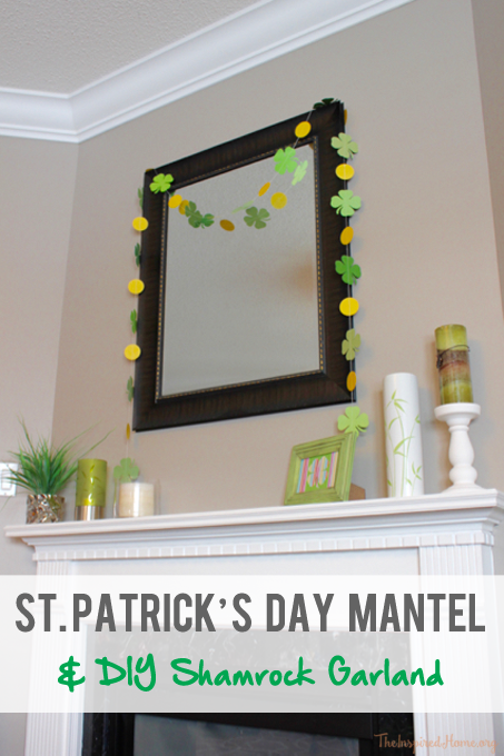 TheInspiredHome.org // Simple St. Patrick's Day fireplace mantel decorating ideas including a DIY paper shamrock garland.