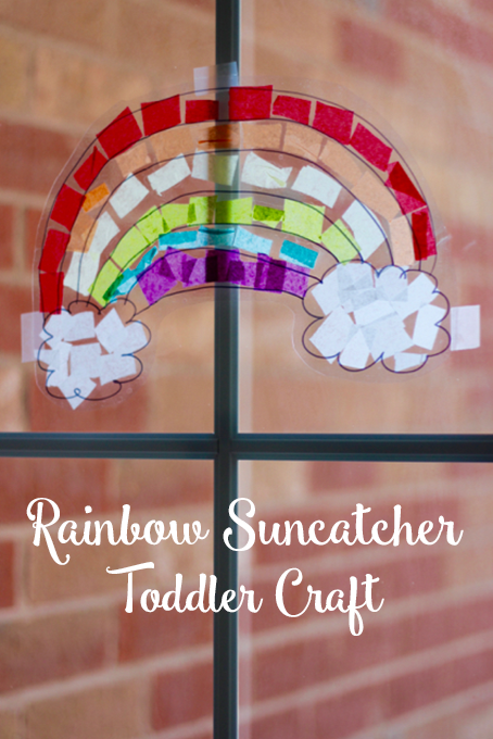 TheInspiredHome.org // Rainbow Suncatcher Toddler Craft using contact paper and tissue paper.