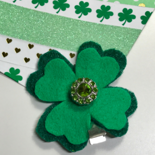 Simple Felt Shamrock Hair Clip + Template
