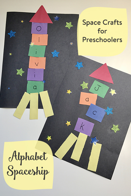 TheInspiredHome.org // Space Crafts for Preschoolers & Toddlers: Alphabet Name Spaceship