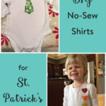 TheInspiredHome.org // DIY No Sew Shirts for St. Patrick's Day. Includes rainbow hearts and a shamrock tie iron-on perfect for both girls and boys.