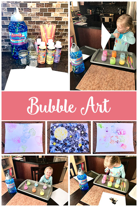 TheInspiredHome.org // Take that big jug of bubbles and do something different with it! Making bubble art is so much fun and so colourful! Your kids will love making a clean mess.