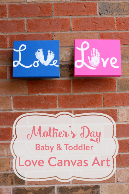 TheInsipredHome.org // Make a beautiful Mother's Day Canvas of Love - full of the handprints or footprints your toddler or baby can provide to this timeless treasure!