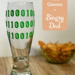 TheInspiredHome.org // Make some custom pint glasses for the geeky dad on your list this Father's Day. This binary dad beer glass made with Cricut vinyl is sure to be a hit.