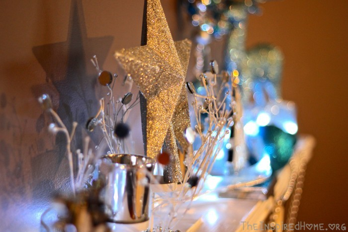 TheInspiredHome.org // 4 Simple DIY Holiday Mantels, Silver & Blue Mantel