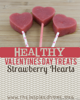 Healthy Valentines Day Treats - Strawberry Hearts by theinspiredhome.org