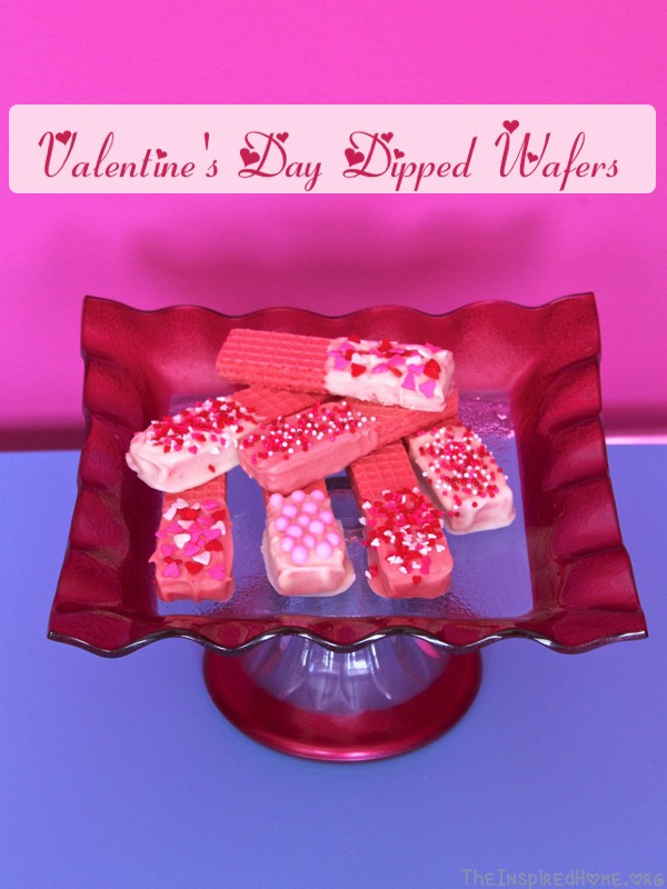 TheInspiredHome.org // Valentine's Day Dipped Wafers. These simple dipped wafers can be altered to suit any occasion. A quick and simple delight you can make with the kids that always turns out great!
