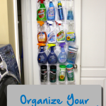 TheInspiredHome.org // How to organize your cleaning supplies by using a plastic shoe organizer!