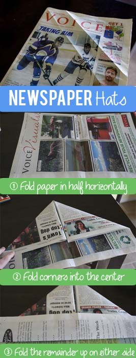 TheInspiredHome.org // DIY Newspaper Hats, How to Fold