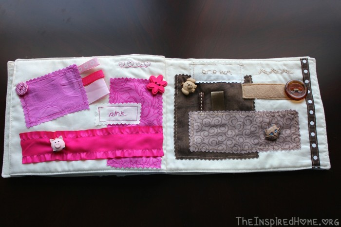 TheInspiredHome.org // DIY: Sew a Fabric Color Taggie Book for your Baby or Toddler. A fantastic project for beginners!