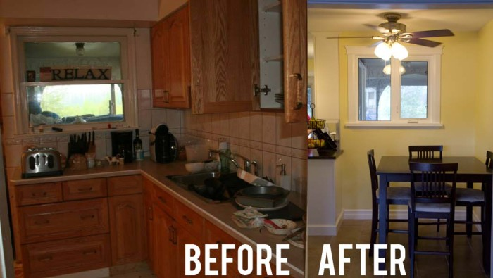 Before and After Kitchen to seating