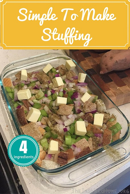 TheInspiredHome.org // 4 Ingredient, Sure Fire Simple to Make Stuffing. Add this beside your next turkey or ham as a real crowd pleaser for those who love stuffing!