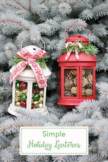 TheInspiredHome.org // Simple DIY Holiday Lanterns. Use store-bought lanterns and add your own personal touch.