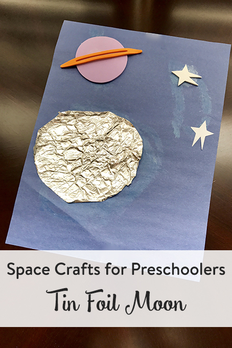TheInspiredHome.org // Space Crafts for Preschoolers & Toddlers: Tin Foil Moon. Space crafts for preschool can be so much fun. Have them make this tin foil moon using dollar store items for some sensory & fine motor fun!