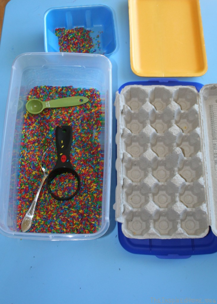 Montessori Monday: Rainbow Rice: 20 Recycled or Thrift Store Items for your sensory bin
