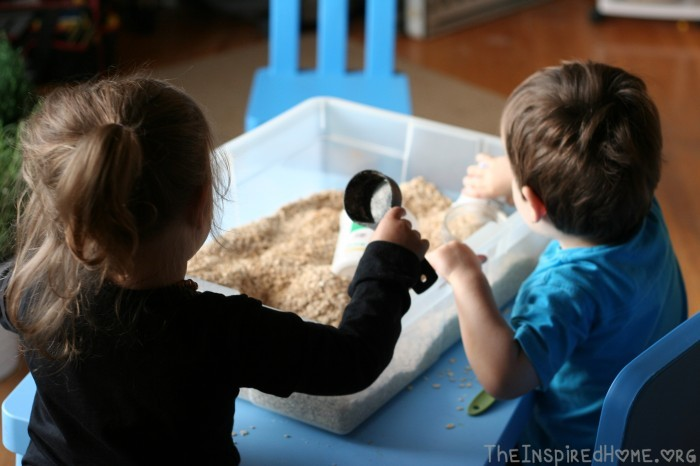 Oatmeal Sensory Bin - A Montessori At Home Toddler Activitiy by theinspiredhome.org