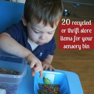 20 Recycled & Thrift Items: Sensory Bin