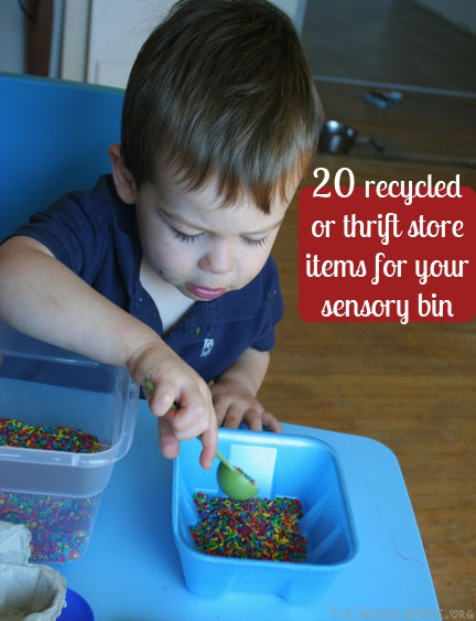 Montessori Monday: 20 Recycled or Thrift Store Items for your sensory bin