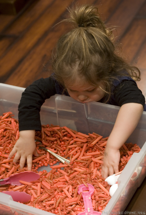 Valentine's Day Sensory Bin by Holly: Smelling the Cinnamon by theinspiredhome.org
