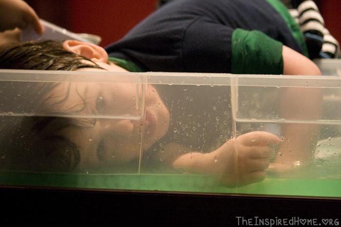 Jonas swimming in beads