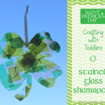 TheInspiredHome.org // St. Patrick's Day Crafts for Kids: Stained Glass Shamrocks using contact paper & tissue paper.