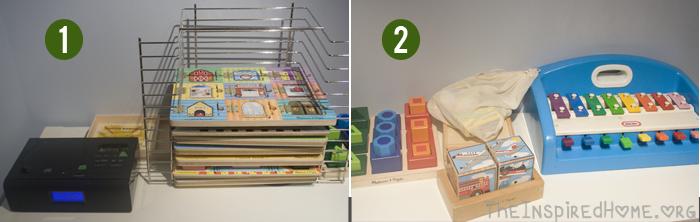 Playroom Storage Shelves Puzzles CD Player Piano