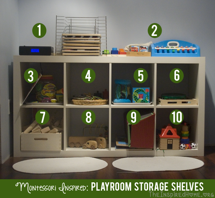Attractive Playroom Storage Shelves Toys