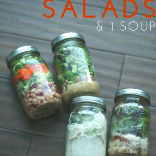 3 Mason Jar Salads + 1 Soup