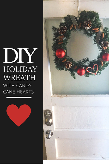 TheInspiredHome.org // DIY Holiday Wreath with Candy Cane Heart