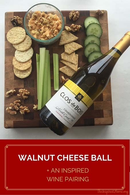 TheInspiredHome.org // Walnut Cheese Ball. A super easy make-ahead appetizer that pair well with Clos du Bois.